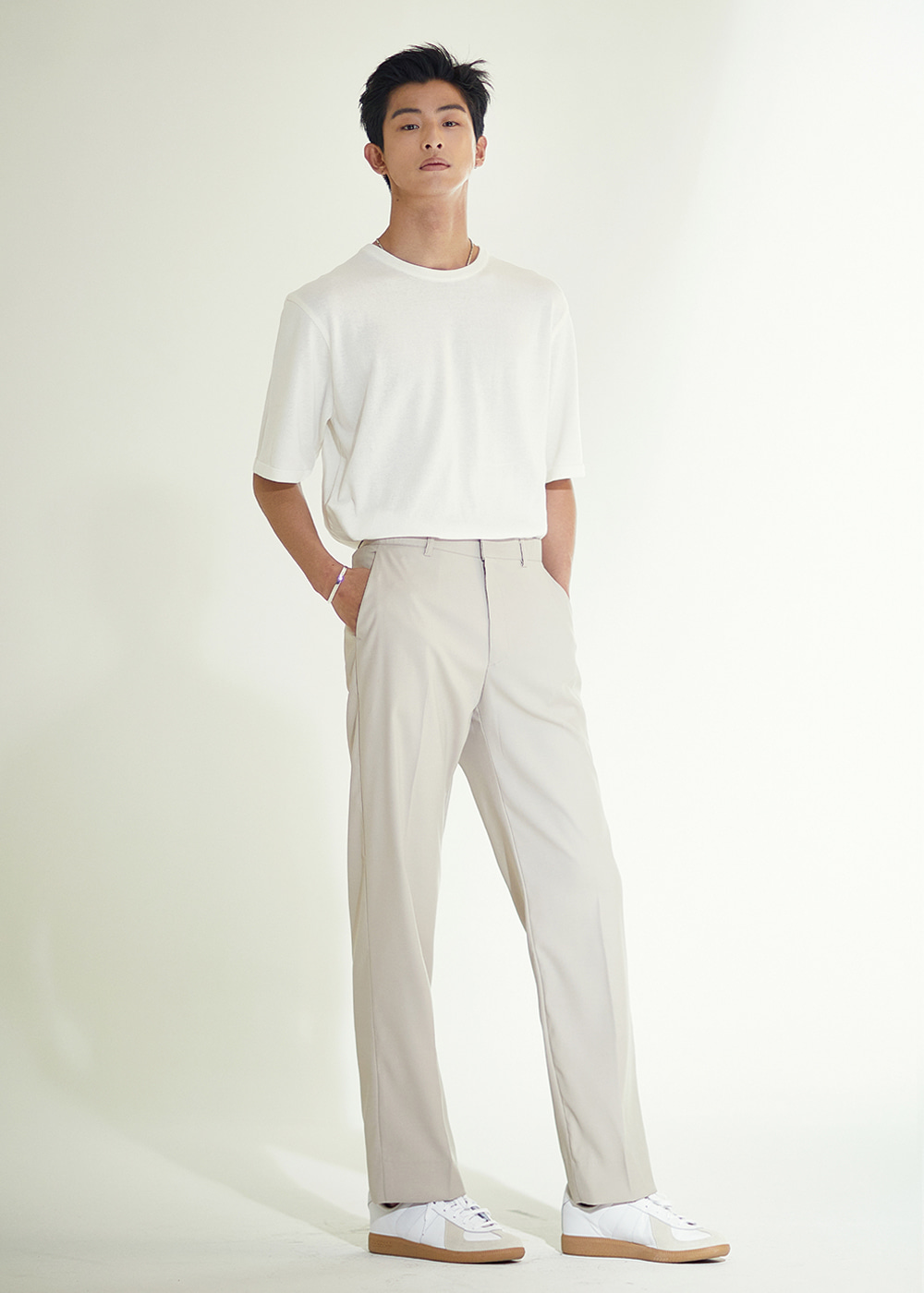 202 SEMI WIDE SLACKS CREAM BEIGE