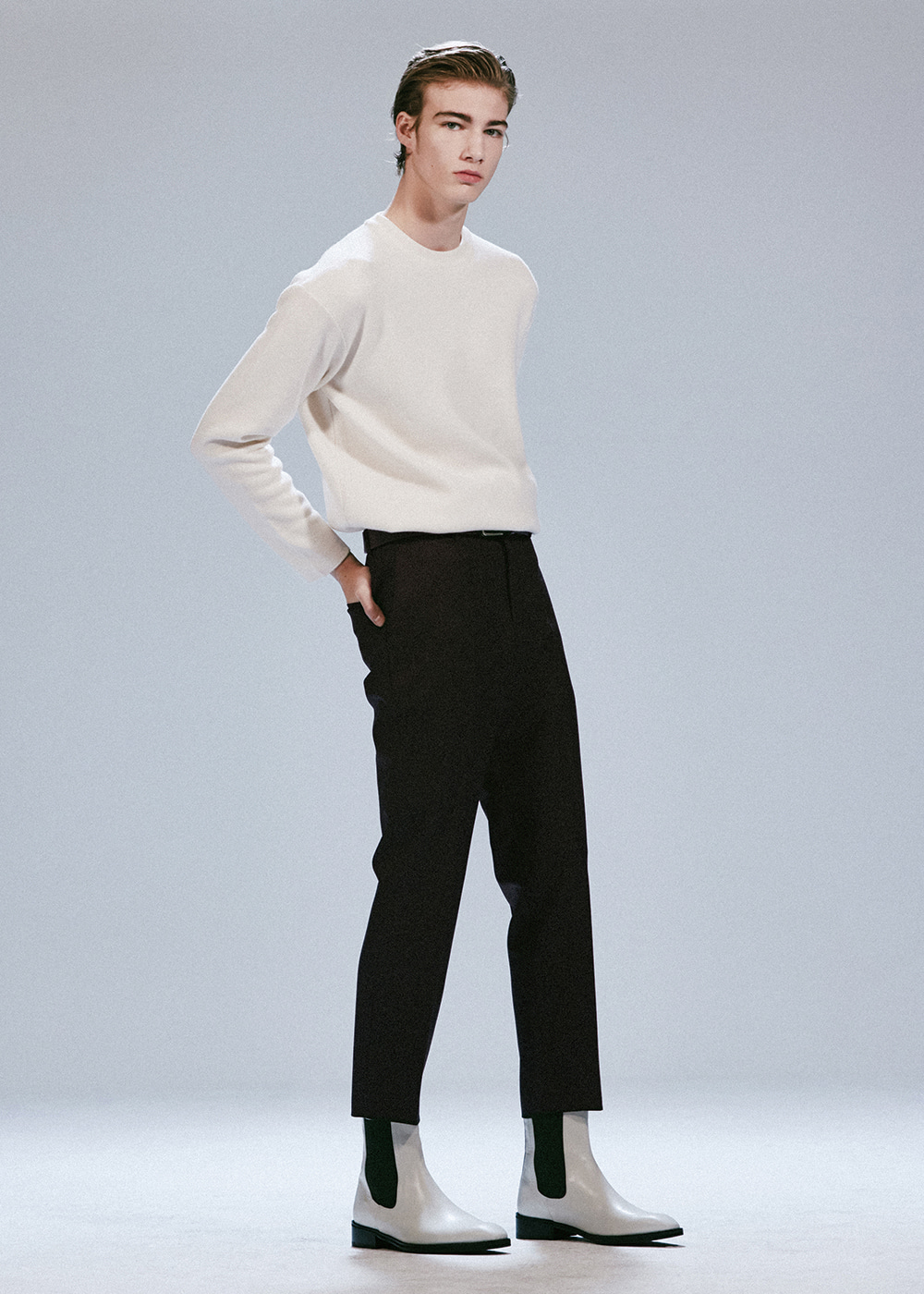 201 COMPACT WOOL TAPERED SLIMFIT CROP SLACKS BLACK